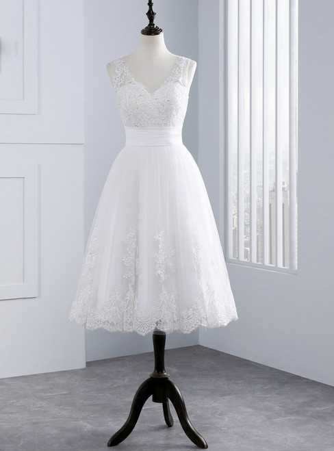 Lace Short V-Neck Appliques Tea Length Wedding Dress