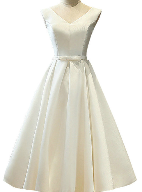 Satin A-Line Short V Neck Sashes Lace Up Tea Length Bridal Dresses