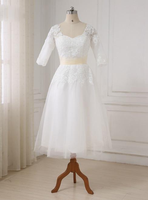 Short Half Sleeves Tea Length Beaded Applique Tulle Wedding