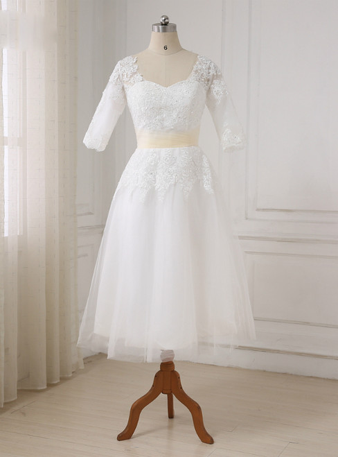 Short Half Sleeves Tea Length Beaded Applique Tulle Wedding