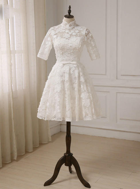 A-line High Collar Lace Half Sleeves Knee Length Wedding Dresses