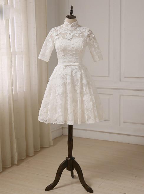 A-line High Collar Lace Half Sleeves Knee Length Wedding Dresses