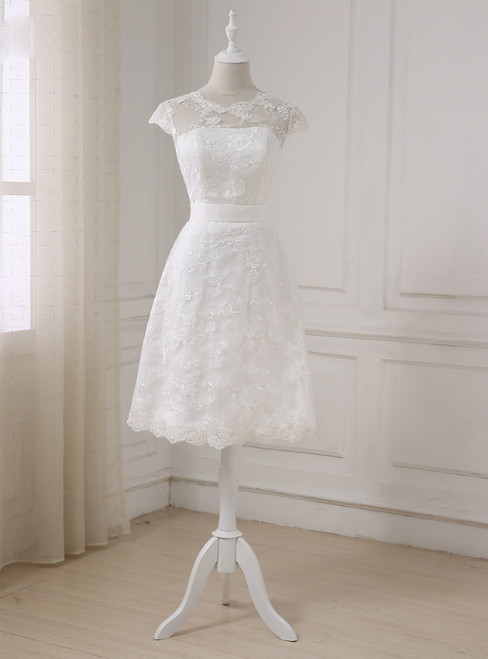 Short A-line Lace Little White Sleeveless Scoop Neck Wedding Dresses