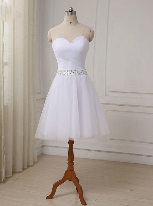 Short Sweetheart Tulle Bridal Little White Wedding Dress