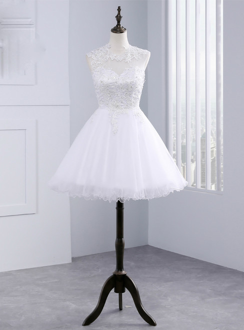 A line Beach Short Tulle Lace Wedding Dresses Backless