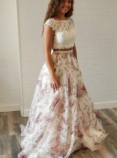 Two Piece White Lace and Floral Print Backless Prom Dress