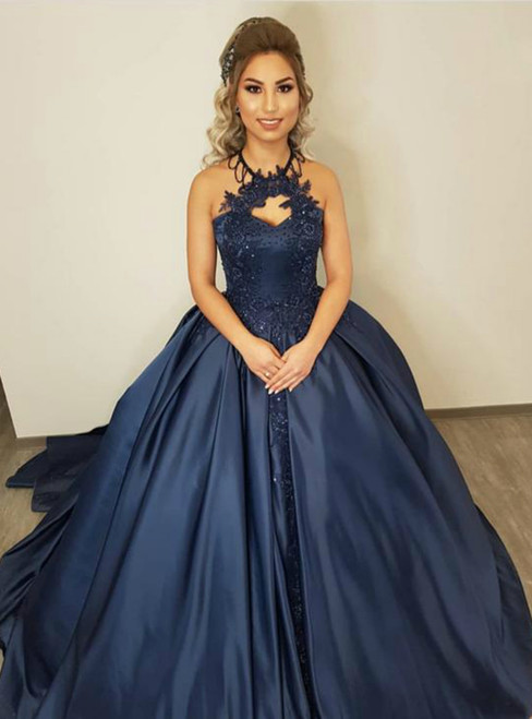 Ball Gown Halter Blue Satin Appliques Prom Dress