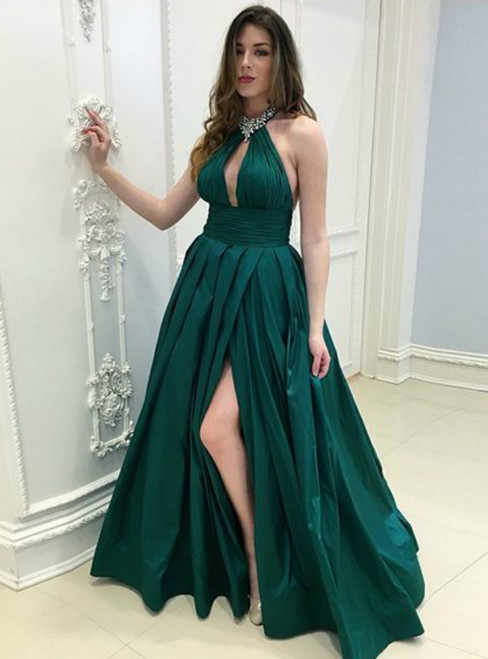 Green Satin Halter V-neck Backless Floor Length Prom Dress