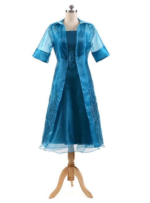 Organza Three Quarters Sleeves Tea Length Mother of the Bride Dress with Jacket