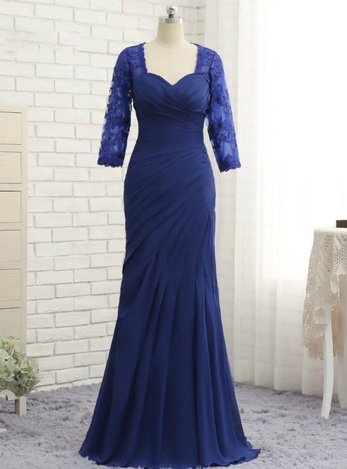 Mermaid 3/4 Sleeves Lace Long Chiffon Mother Of The Bride Dresses