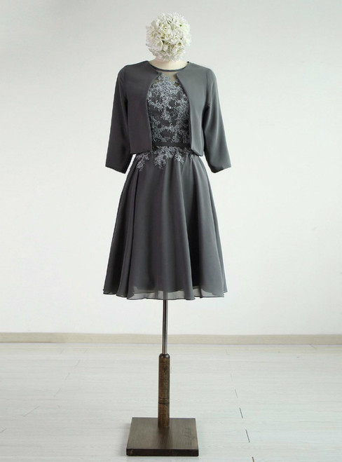 Grey Chiffon A-line Knee-Length Mother Of The Dress With Jacket