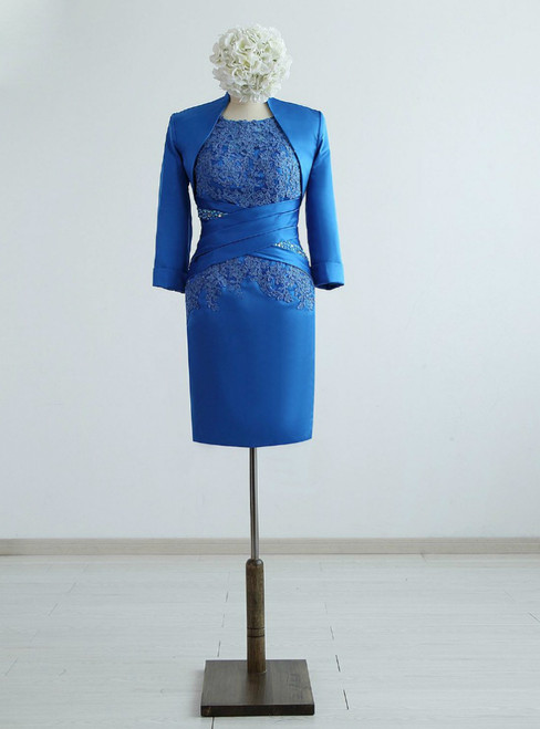 Blue Satin Appliques Lace Beading Knee-Length Mother of the Bride Dresses