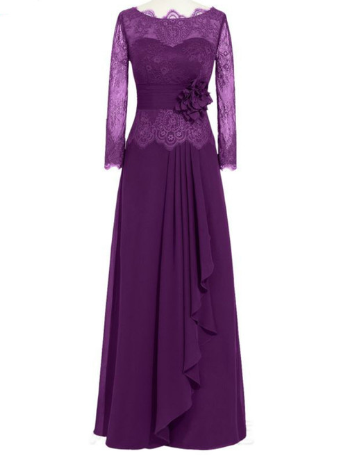 Purple Lace Full Sleeve Floor Length Mother of the Bride Dresses