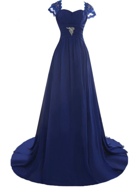 A-Line Floor Length Chiffon Blue Mother of the Bride Dresses