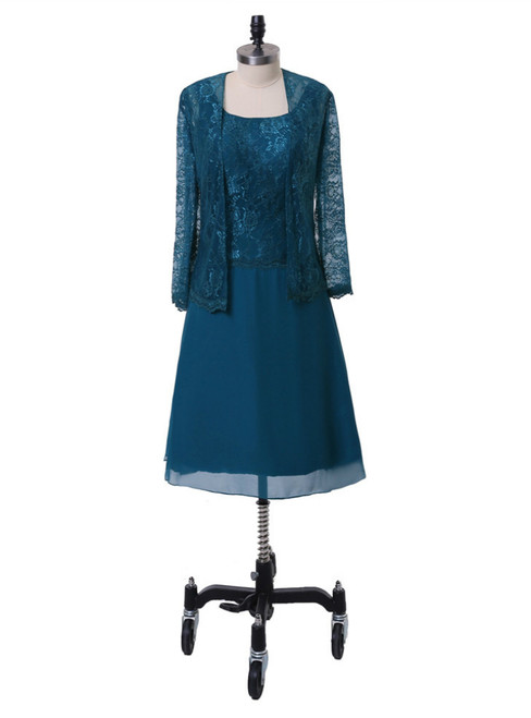 A-line Chiffon Lace Blue Mother Of The Bride Dresses With Jacket