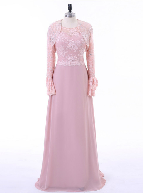 A-line Chiffon Lace Pink Mother Of The Bride Dresses