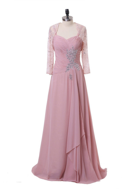 A-line Pink Chiffon Beaded Mother Of The Bride Dresses With Jacket