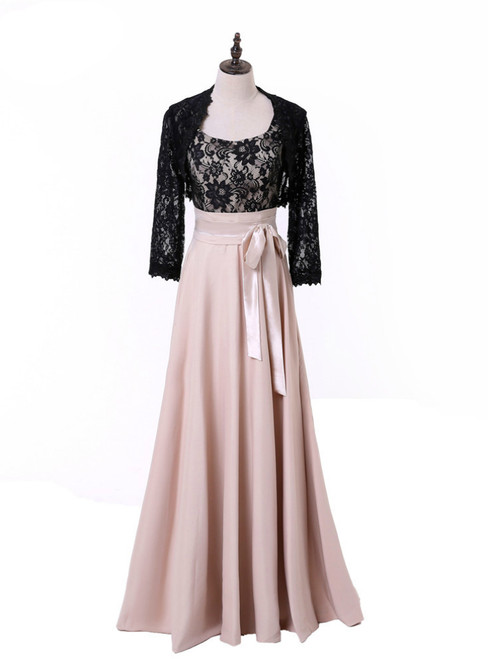 A-line Chiffon Lace Champagne Mother Of The Bride Dresses With Jacket