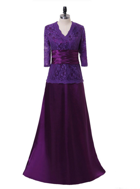 A-line Purple V-neck 3/4 Sleeves Mother Of The Bride Dresses
