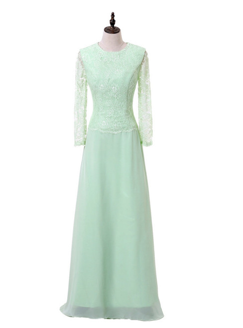 Mint Green A-line Long Sleeves Chiffon Lace Mother Of The Bride Dresses