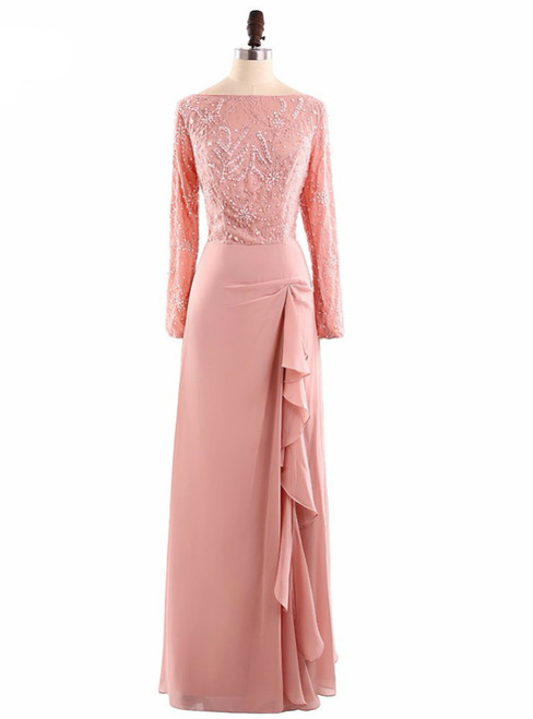 Full Sleeves Zipper Back Beading Mother of the Bride Dresses