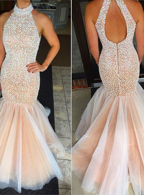 Halter Mermaid Tulle Beading Backless Pearls Prom Dress
