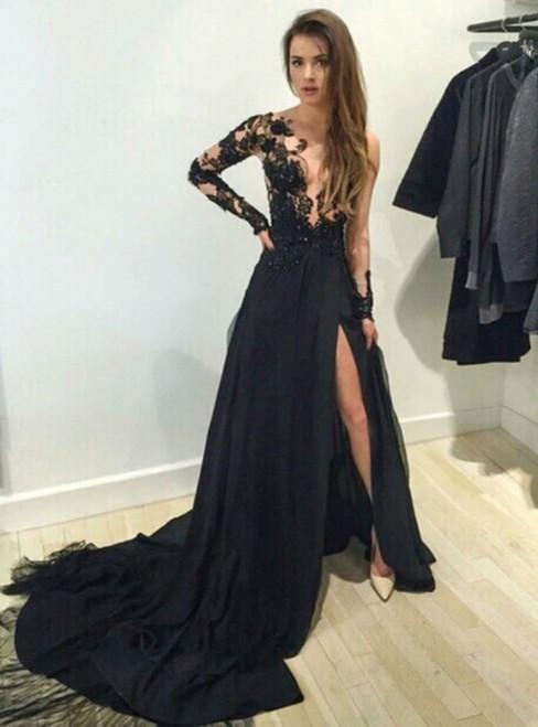 Sexy Long Sleeve Black Lace Train Prom Dress