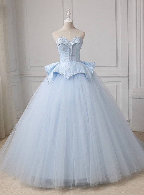 Blue Tulle Lace Up Sweetheart Ball Gown Beading Wedding Dress
