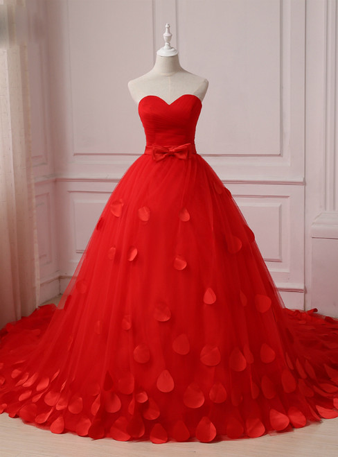 Red Flower Petals Ruched Sweetheart Sleeveless Wedding Dress