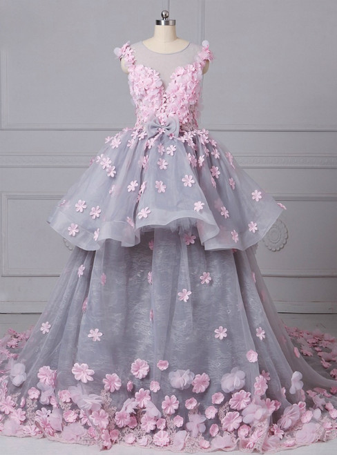 O-Neck Sleeveless Ball Gown Handmade Flowers Wedding Dresses