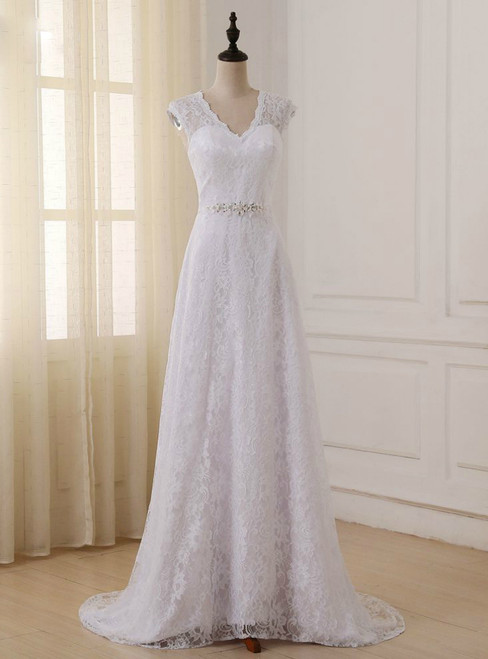 Cap Sleeve V-neck A-line Lace Beaded Sashes Wedding Dress