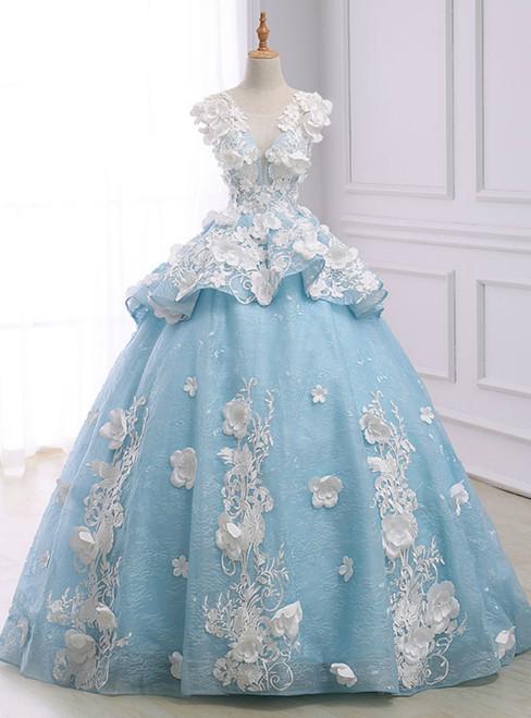 Blue Ball Gown Cap Sleeve Organza Flower Backless Wedding Dress