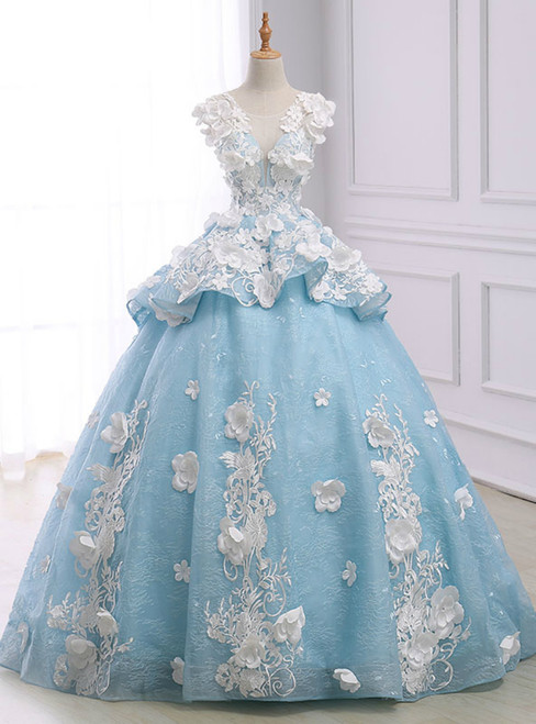 Blue Ball Gown Cap Sleeve Organza Flower Backless Wedding Dress