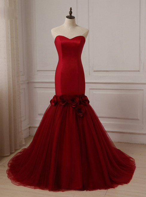 Red Sweetheart Sleeveless Tulle and Satin Bride Wedding Dress
