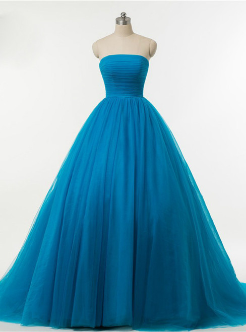 Blue Ball Gown Strapless Tulle Backless Wedding Dress