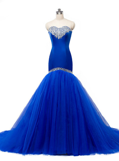 Blue Bodice Lace Up Mermaid Sweetheart Tulle Wedding Dress