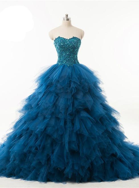 Quinceanera Dress Ball Gown Ruffles Organza Crystals Wedding Dress