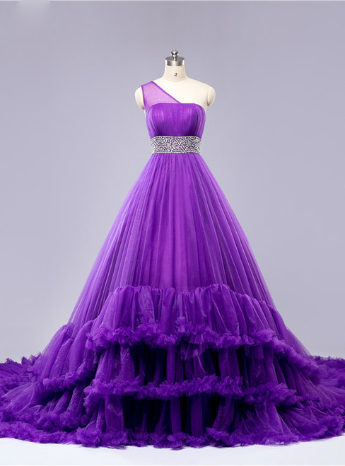 One Shoulder Cloud Ball Gown Tulle Ruffles Wedding Dresses