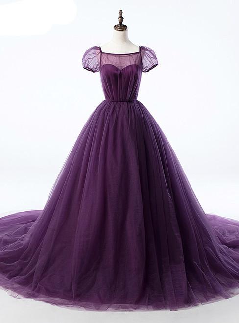 Purple Ball Gown Tulle Short Sleeve Backless Train Wedding Dress