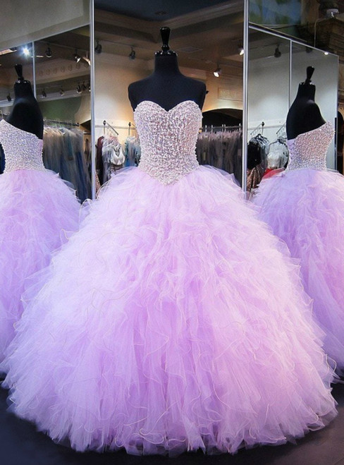 Puffy Ball Gown Sweetheart Heavy Beaded Crystals Sweet 16
