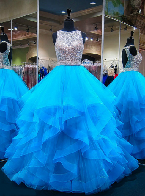Blue Puffy Ball Gown Crystals Backless African Prom Dresses