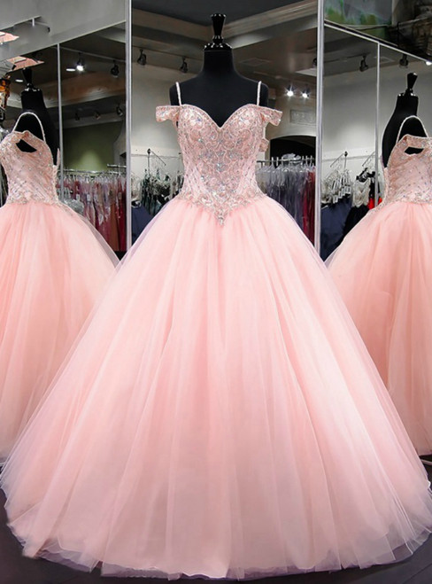 335a9fd82a1 Ball Gown Cap Sleeve Sweet 16 Light Pink Beaded Quinceanera Dress