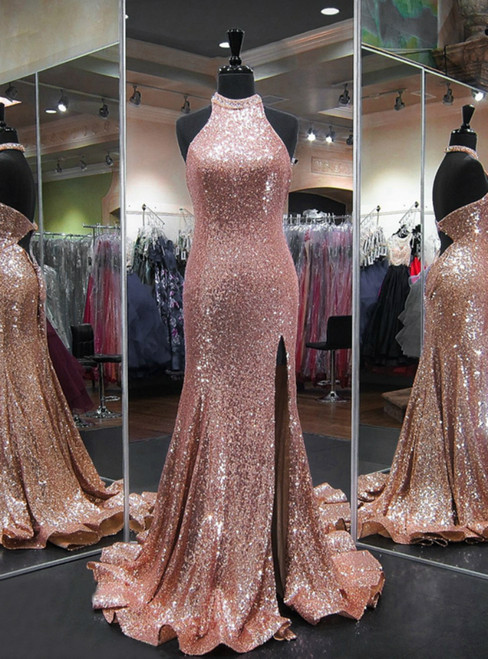 Pink Halter Mermaid High Slit Backless Sequin Floor Length