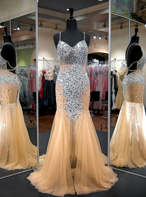 Champagne Mermaid Sweetheart Beaded Crystals Floor Length Prom Dress