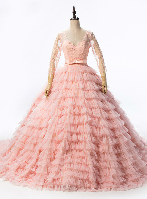 Long Sleeves Peach Sexy Tulle Sequined Tiered Wedding Dress