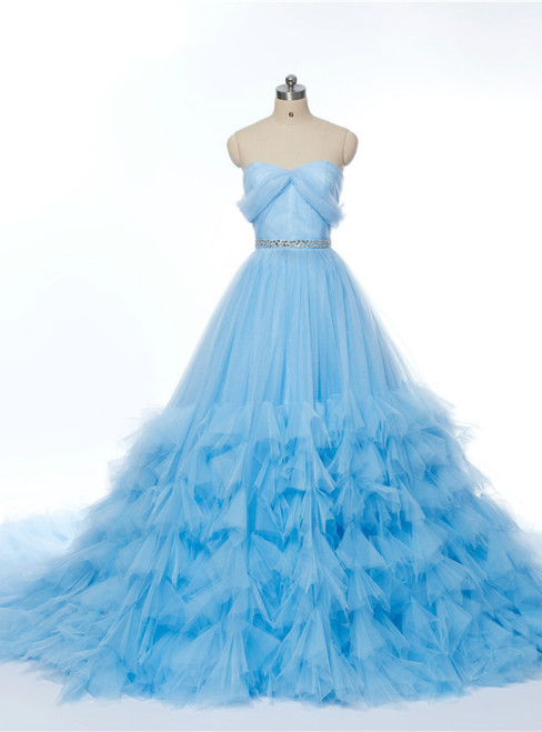 Sweetheart Blue Ruched Crystal Tulle Bridal Train Wedding Dress