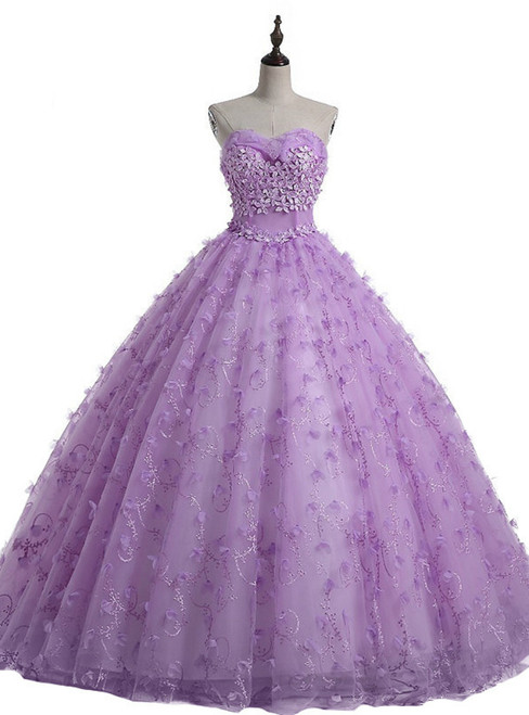 Purple Sweetheart Tulle Flower Ball Gown Wedding Dress