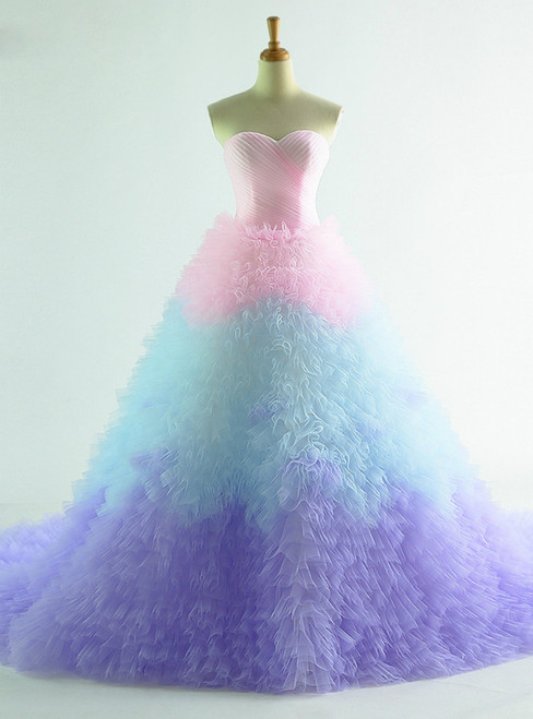 Colorful Tulle Sweetheart Tulle Princess Wedding Dress