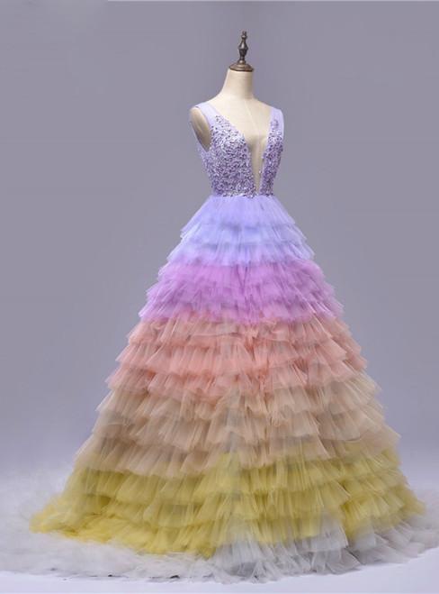 Backless Deep-V Tulle Multicolor Sleeveless Wedding Dresses
