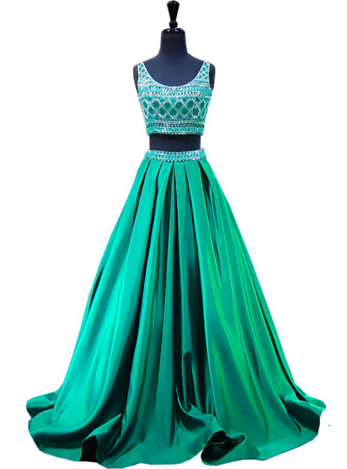 Beaded Crystals Beaded Floor Length Backless Two Piece Prom Dress